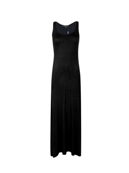 Black Simple Scoop Neckline Solid Maxi Dress