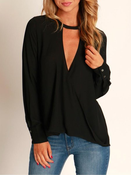 Black Polyester Long Sleeve V Neck Blouse