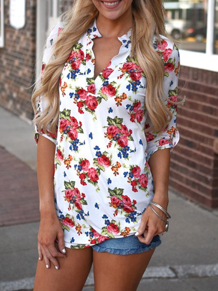 White Floral Stand Collar Casual Tunic Top