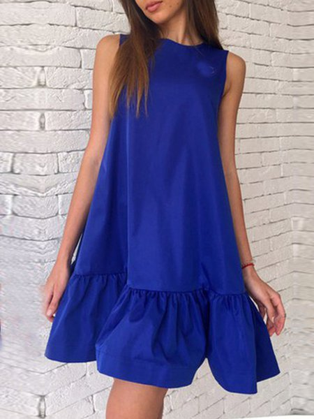 Sleeveless Flounce Casual Mini Dress