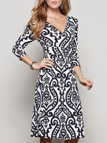 Black-white Surplice Neck Elegant Modest Dress
