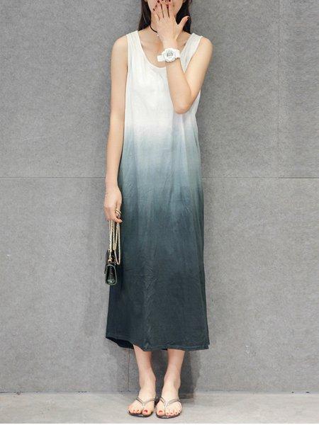 Black Sleeveless Ombre Maxi Dress