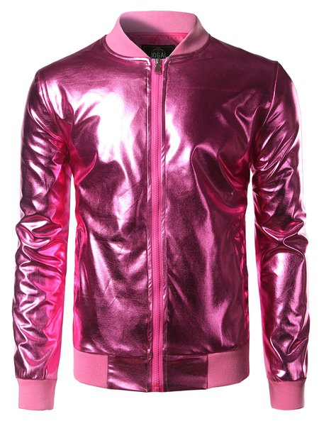 Fuchsia Long Sleeve Bomber Jacket