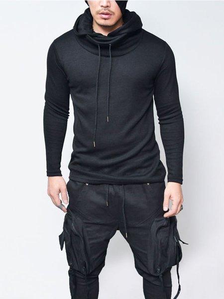 Black Drawstring Long Sleeve Solid Hoodie