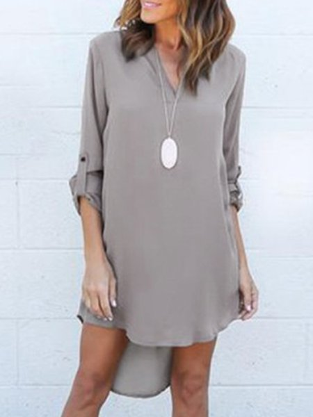 Gray Women Casual Dress High Low Daytime 3/4 Sleeve Casual Dress