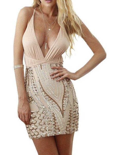 Champagne Backless Paneled Sexy V-Neck Mini Dress