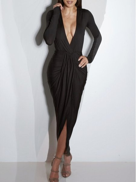 Black Bodycon Plunging Neck Solid Long Sleeve Maxi Dress
