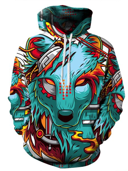 Green Wolf Printed Pockets Casual Long Sleeve Hoodie