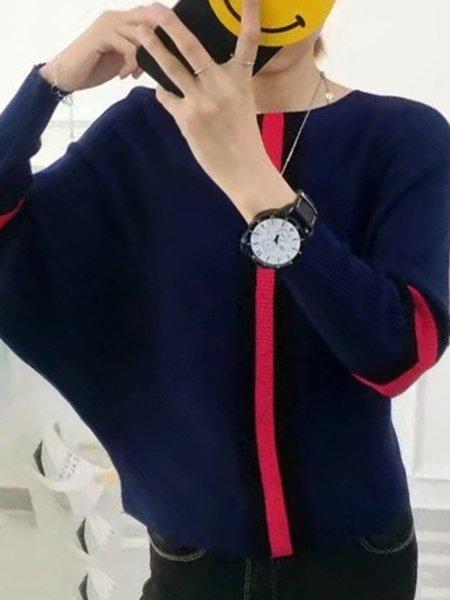 Blue Basic Knitted Crew Neck Acrylic Sweater