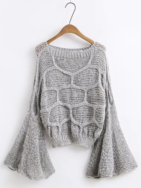 Frill Sleeve Solid Knitted Basic Sweater