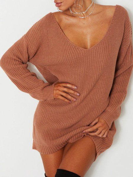 Long Sleeve Solid Basic V Neck Sweater