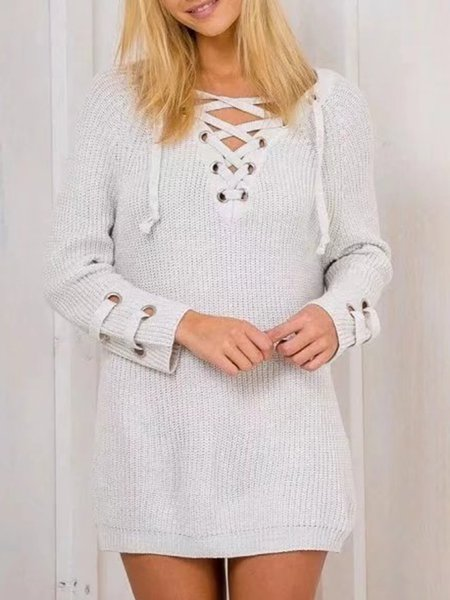 Crew Neck Knitted Long Sleeve Cotton Basic Sweater