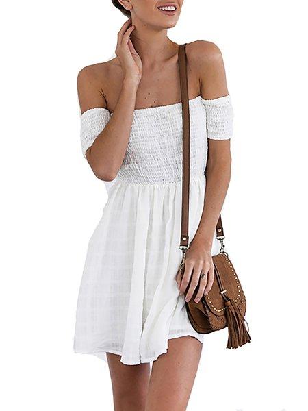 White A-line Off Shoulder Shirred Dress