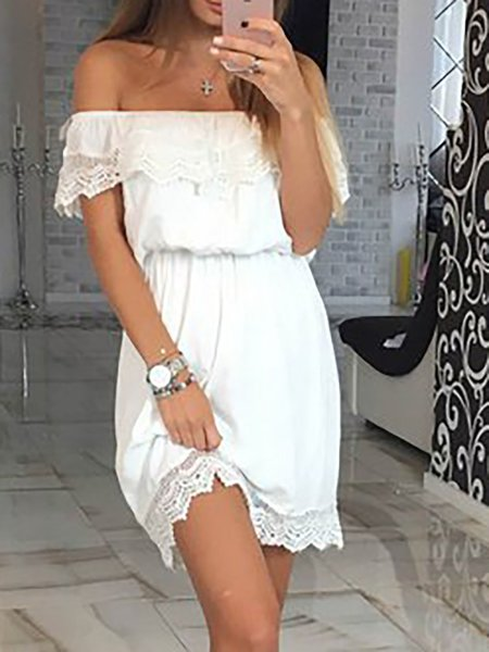 Off Shoulder Crochet-trimmed Solid Dress