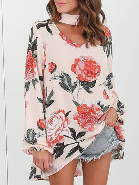 Apricot Floral Long Sleeve Choker Neck Blouse
