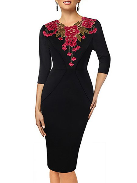 Black Floral Embroidered Crew Neck 3/4 Sleeve Midi Dress