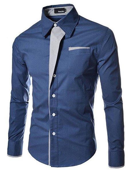 Paneled Long Sleeve Casual Shirt