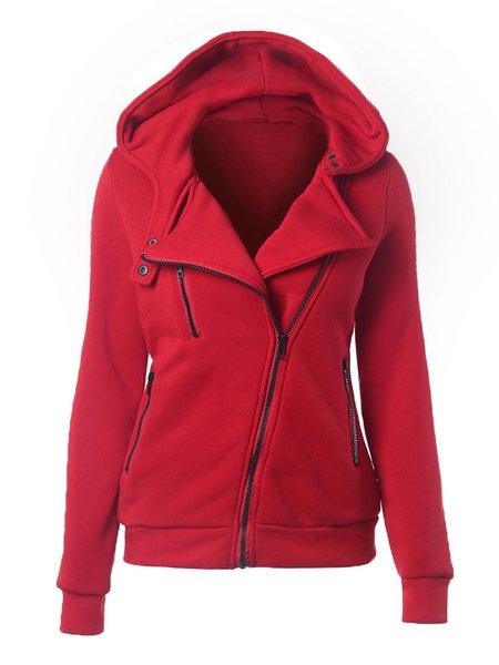Red Zipper Solid Long Sleeve Hoodie