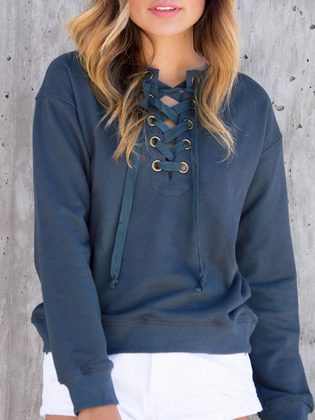 Deep Blue Solid Crew Neck Casual Sweatshirt
