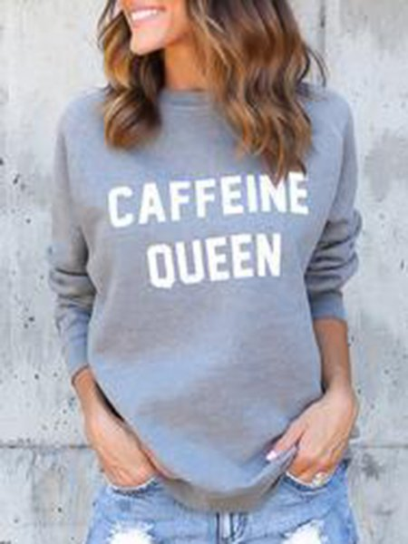 Gray Casual Letter Printed Sweatshirt