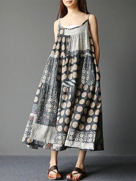 Gray Spaghetti Printed Polka Dots Vintage Dress