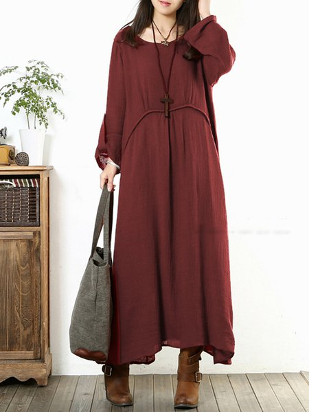 Linen A-line Solid Long Sleeve Maxi Dress