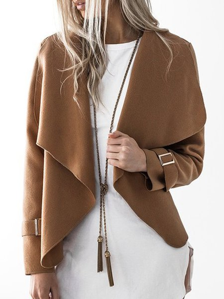 Camel Solid Asymmetric Long Sleeve Jacket