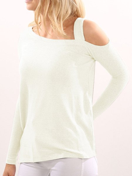 White Simple One Shoulder Solid T-Shirt