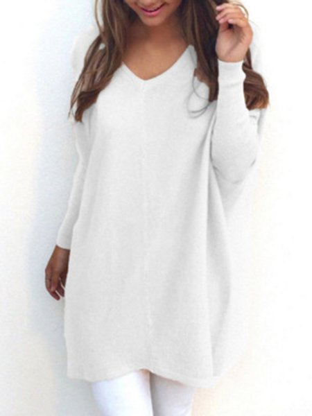 White Polyester V Neck Casual Sweater