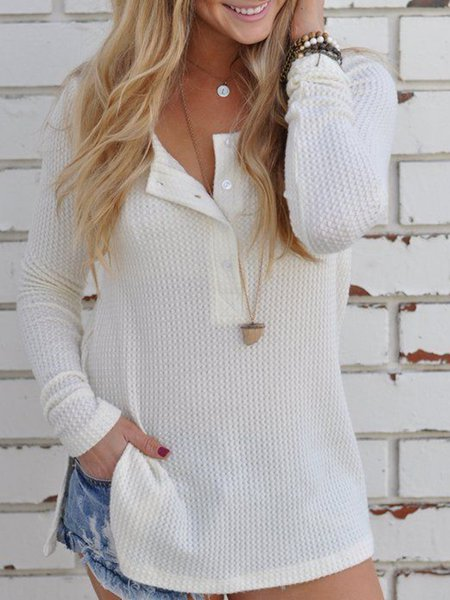 Solid Crew Neck Casual Buttoned Sweater