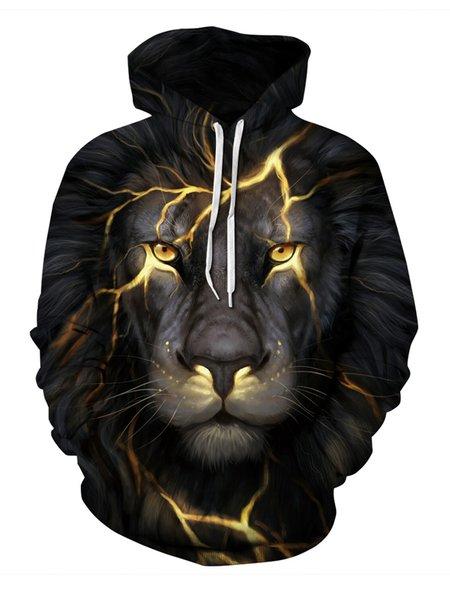 Deep Gray Lion Printed Long Sleeve Hoodie