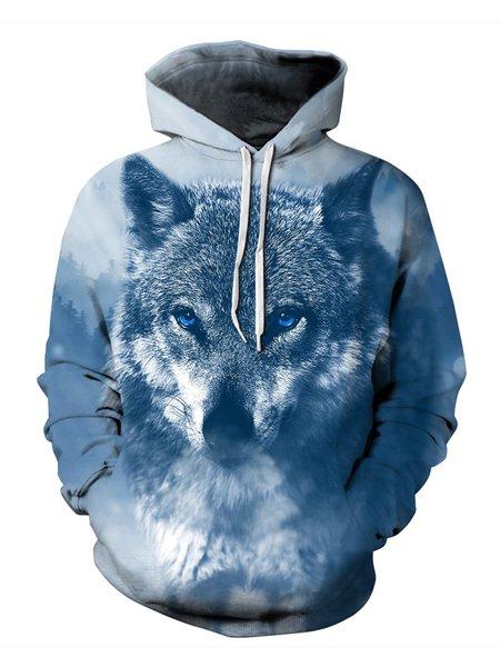 Blue Wolf Printed Long Sleeve Hoodie