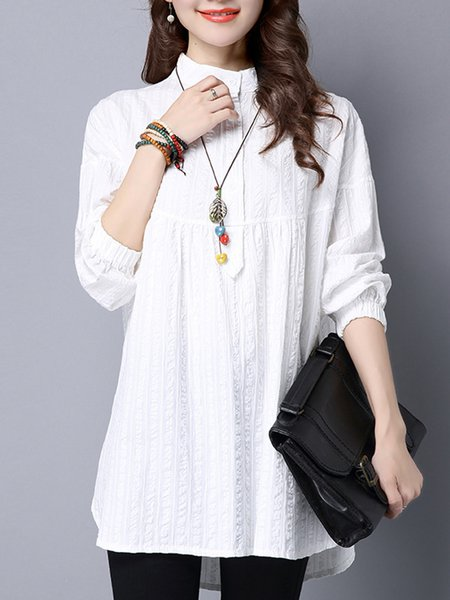Cotton Long Sleeve Stand Embossed Collar Shirt