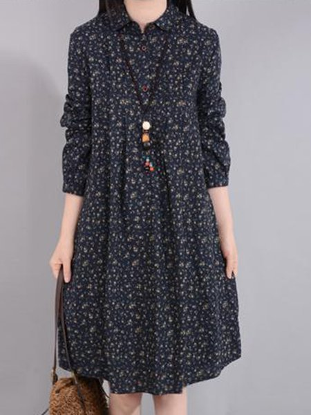 Women Print Dress Stand Collar A-line Daily Casual Cotton Dress