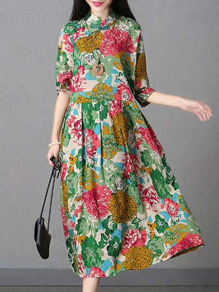 Multicolor Long Sleeve Stand Collar Swing Printed Linen Dress