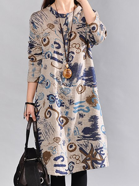 Gray Linen Long Sleeve Printed Abstract Vintage Dress