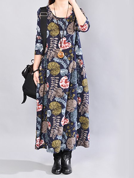 Linen A-line Floral Printed Casual Maxi Dress