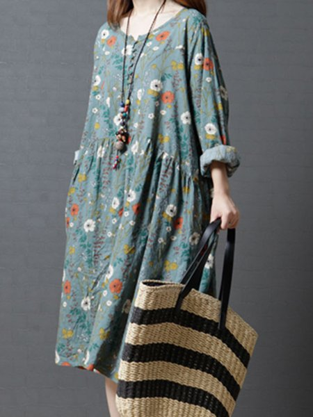 Floral-print Crew Neck Linen Long Sleeve Dress