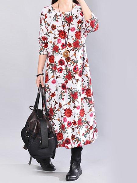 Women Print Dress Crew Neck A-line Floral-print Floral Dress