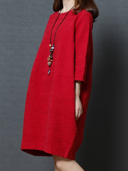 Women Casual Dress Crew Neck Shift 3/4 Sleeve Solid Dress