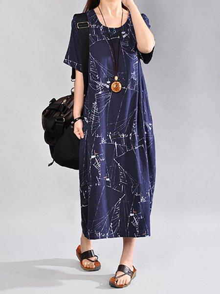 Printed Crew Neck Short Sleeve Vintage Dress