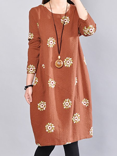 Floral Crew Neck Long Sleeve A-line Vintage Dress