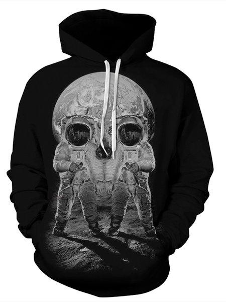 Black Geometric Skull Galaxy Hoodie