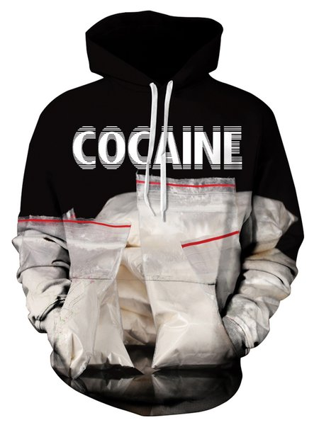 Cocaine Letter Long Sleeve Pull Over Hoodie