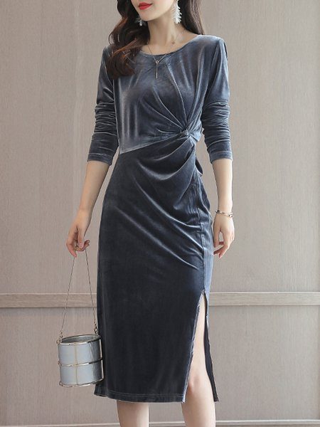 Slit Long Sleeve Velvet Sheath Elegant Dress