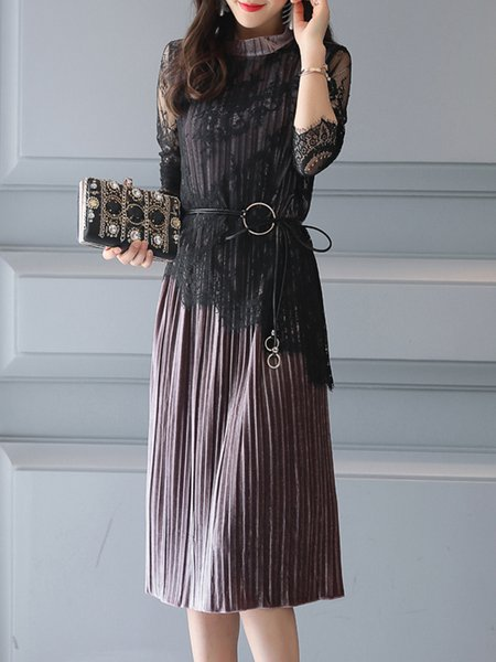 Paneled Pleated Velvet Long Sleeve Stand Collar Dress with Belt