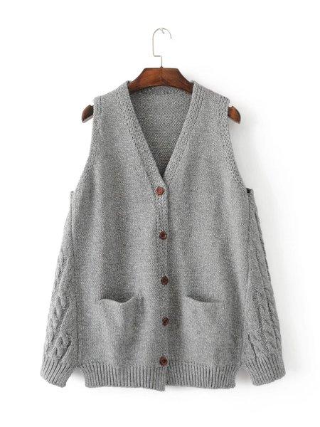 V Neck Pockets Solid Sleeveless Cardigan - JustFashionNow.com
