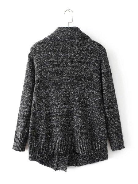Deep Gray Cowl Neck Asymmetric Long Sleeve Sweater ...