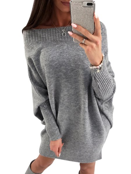 Long Sleeve Solid Knitted Sexy Cotton-blend Sweater ...