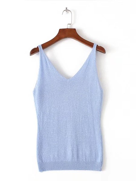 Knitted Solid Spaghetti Simple Cami